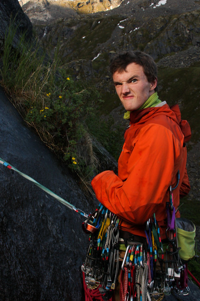 Late evening sun slips from the hills as Ty readies the belay on <i>Snowflake 5.8</i>.