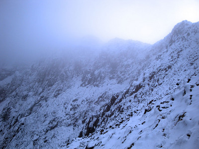 We descended from the summit on the left, along this ridge, and down the face (there is a trail).