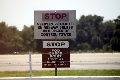 Warnings at the runway of the Shuttle Landing Facility