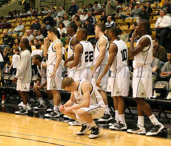 Army guard Jason Pancoe (11) drops his head as the Black Knight's fall to Buffalo in the final seconds of their game in Christl Arena at the United States Military Academy on Wednesday, December 1, 2010. Buffalo defeated Army 56-54. Hudson Valley Press/CHUCK STEWART, JR.