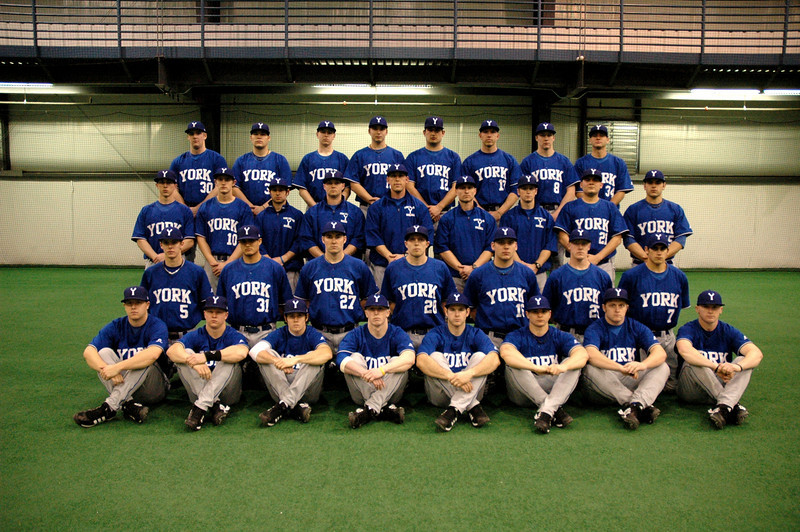 YC BASEBALL TEAM: (1st row)  Doug Tew, Josh Warren, Danny Costanza, Tanner Gurtner, Bo Blackman, Kris Little, Justin Schultz, C.T. Twisselman; (2nd row) Keaton Holland, Eduardo Camarena, Mike Becker, Matt Berru, Derek Harlow, Kyle Reeves, Chris Dempsey; (3rd row) Travis Gibson, Andrew Matheny, Assistant Coach Dylan Connolly, Assistant Coach Erik Gray, Head Coach Nick Harlan, Associate Head Coach Brian Walth, Assistant Coach Ryan Stuckey, Arvin Perez, Nick Caravelli; (4th row) Isaac Obermiller, Nick Nguyen, Bruce Amende, Justin Grieser, Joel Fleck, Justin Lunday, Alex Lowther, Kai Miller,  Not pictured - Sam Feiner