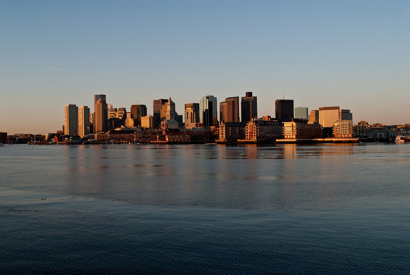 Boston at Sunrise from East Boston on Evacuation Day, 2010.