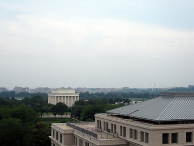 View of the Lincoln Memorial (left) and the United States Air Force Memorial in Virginia (right, background) from the eighth floor balcony of the Harry S Truman Building of the U.S. Department of State