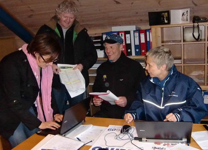 Sjekk av øpsoppsett i sekretæriatet: Janka Rom, Hogne Fredriksen, GeorgLund og KirstiVeggel