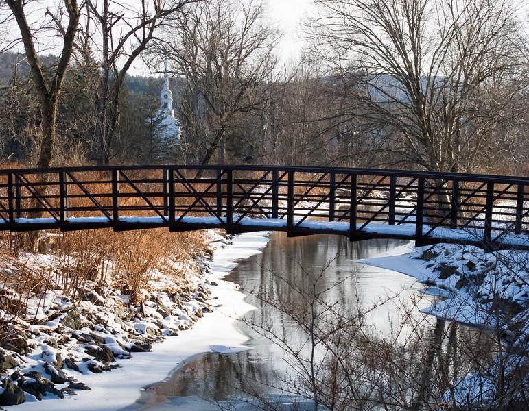 Stowe rec path, bridge and church