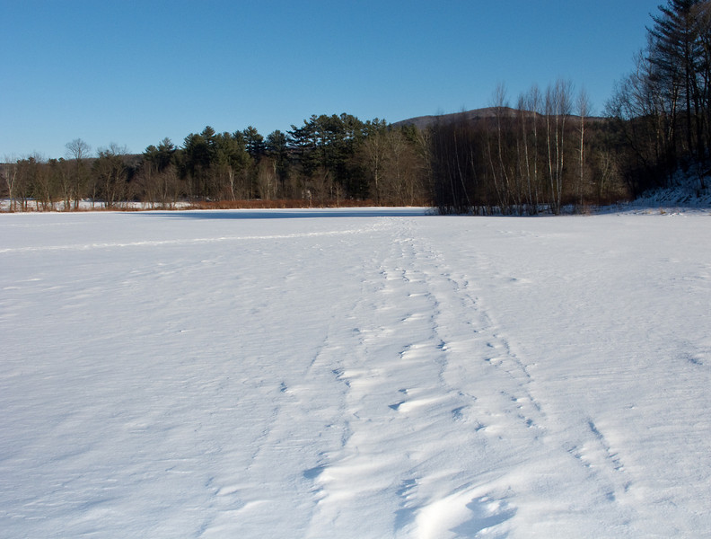 Stowe rec path, snowy field