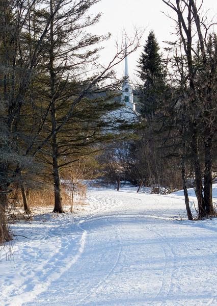 Stowe rec path, church