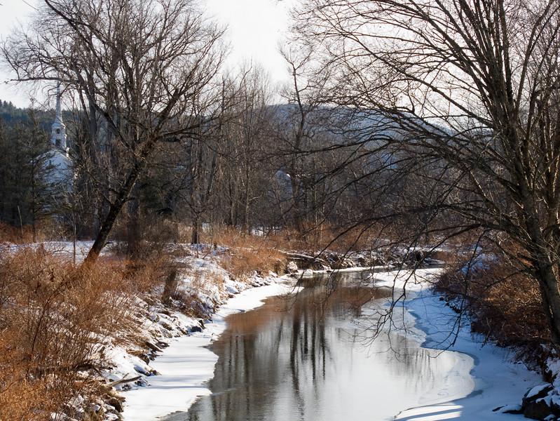 Stowe rec path, brook and church