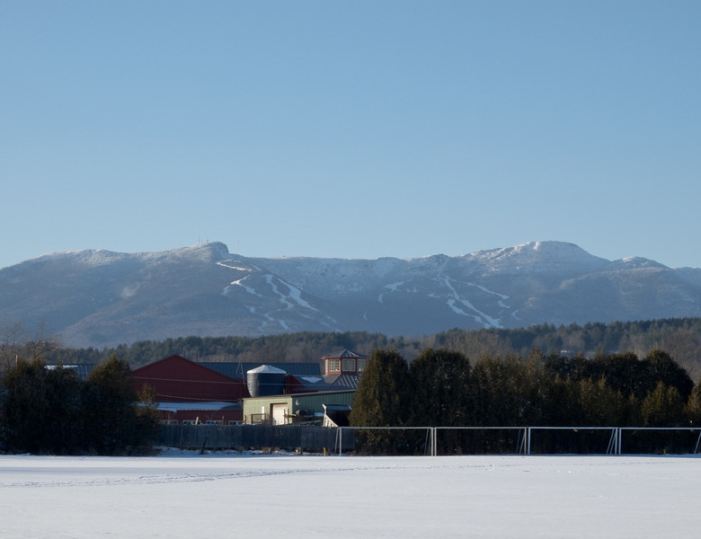 Stowe rec path, view of Mt. Mansfield