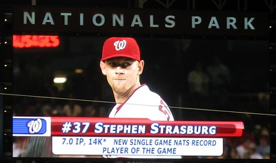 Stephen Strasburg is named the Player of the Game