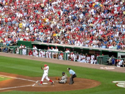 Stephen Strasburg's first major league swing, resulting in an out at first base