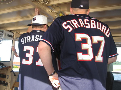 Fans already decked out in Strasburg jerseys, on the Alexandria-Nationals Park water taxi