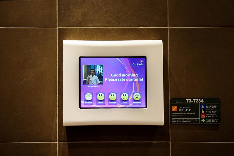 singapore airport toilet exit survey