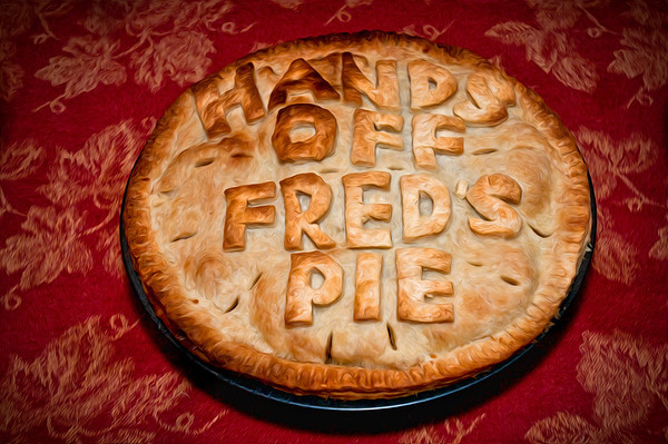 "Ever since my great-Uncle got into the restaurant business (and helped create the likes of The Rainbow Room, Windows on the World, and many others) my family always throws some pretty yummy Thanksgiving feasts. Every year one of my other Uncles bakes a pie. Knowing my grandfather loves Apple/Pear pies he baked one specifically for my grandfather. I present to you: Fred's Pie!  A photographer friend of mine pointed me to a Photoshop plugin called Pixel Bender, and their ""Oil Paint"" filter. It essentially tries to make your photo look like an oil painting. She had come up with some neat examples and I thought I'd give it a try on this photo. I rather like how it came out! What do you all think?  Nikon D300s w/Nikkor 17-35mm f/2.8 ED-IF AF-S: 35mm, f/5.6, 1/60 sec, ISO 400, SB-800 Flash w/Gary Fong Diffuser"