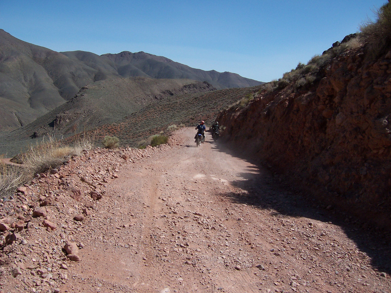 Two dirt bikes went passed us going the wrong way on this one way road...