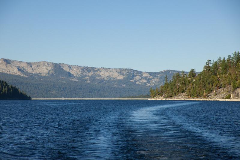 Our wake, crossing Lake Edison