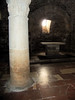 Crypt beneath raised presbytery, San Silvestro (deconsecrated), Bevagna, Umbria.  Light supplemented with flash.