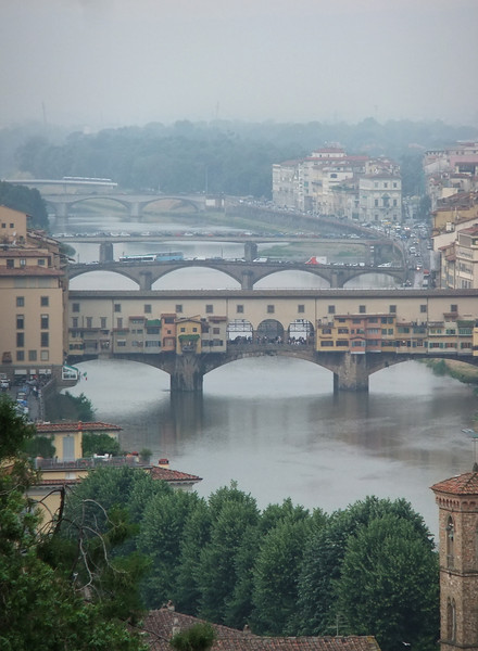 Ponte Vecchio from Piazzale Michelangelo as a thundershower engulfs the western portion of Firenze.