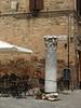 Outdoor café tables at north end of Piazza Silvestru, Bevagna, Umbria.