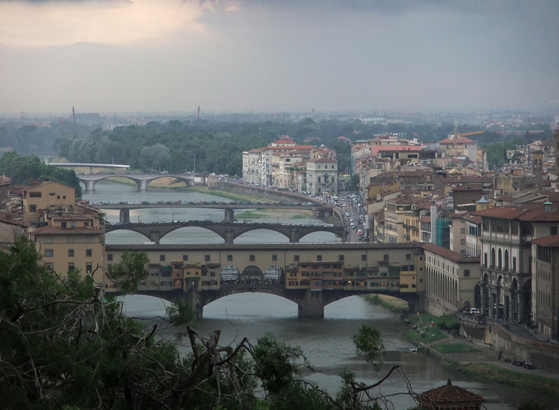 Firenze and Ponte Vecchio from Piazzale Michelangelo as a thundershower bears down toward the photographer.