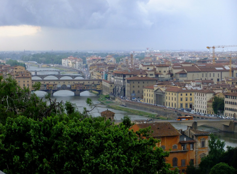 Fujifilm F70EXR in Velvia (reversal film saturation and contrast) film simulation mode:  Firenze from Piazzale Michelangelo as a thundershower envelopes the city.