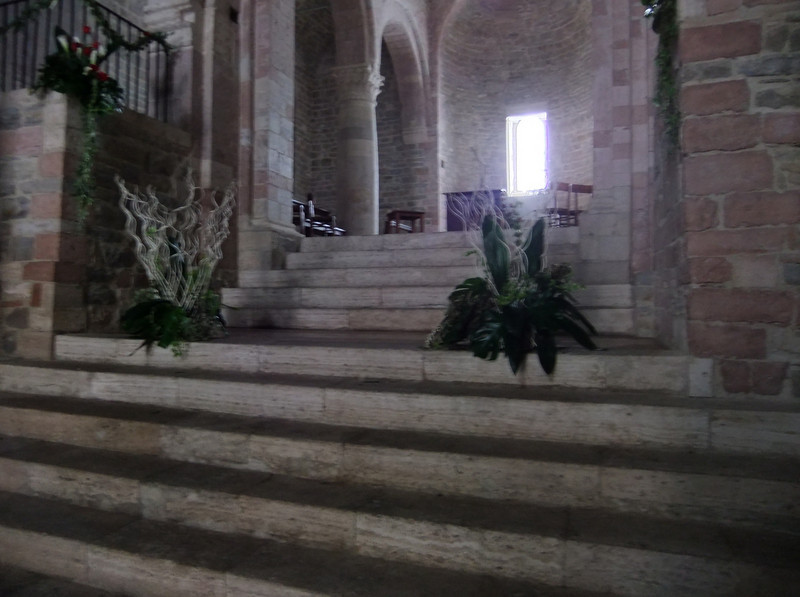 Raised presbytery in San Silvestro (deconsecrated), Bevagna, Umbria. Natural light.