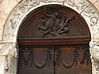 Detail of carving above entry door to San Michele Arcangelo, Bevagna, Umbria.