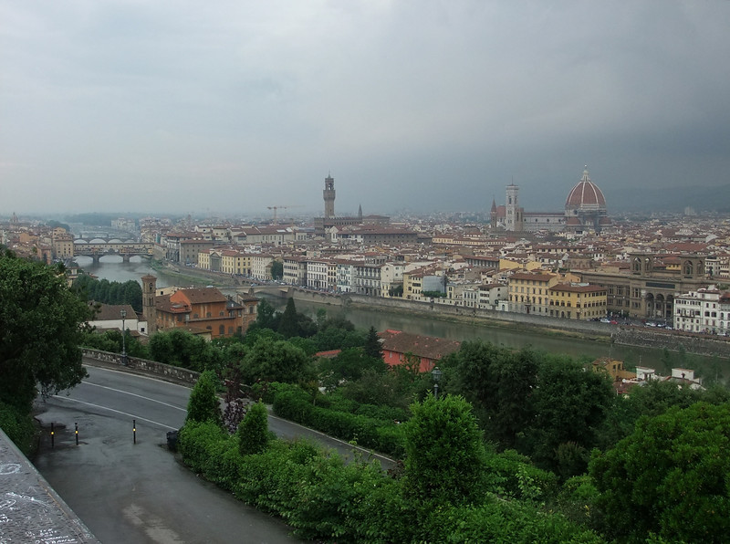 Piazzale Michelangelo is a popular viewpoint south of the Arno from which to view Firenze; we were there as a line of thunder squalls approached the city.