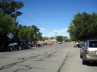 Looking down the street waiting for the parade to begin.
