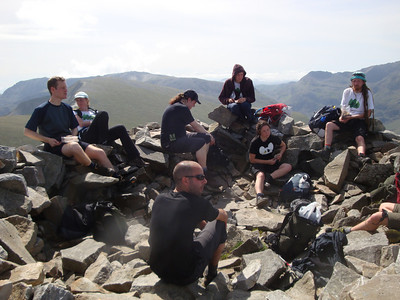 Knackered after a long ascent on the summit of Elidir Fawr. Great views though!