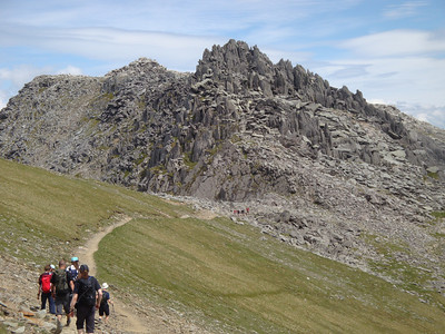Castle of the Winds approach. This 200 foot high nest of jagged rock is a perfect haunt for the Welsh Red Dragon. We didn't venture in.
