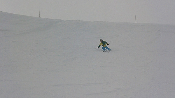 "Aaron doing a much better job of skiing down the cornice on the backside known as ""The Wave.""   Video by Harrison Turner."