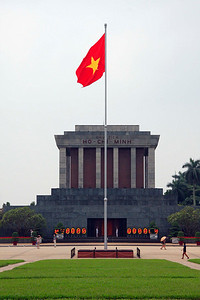 "The Ho Chi Minh Mausoleum in Hanoi where Ho himself rests in ""state"".  Apparently they must send the body to Russia once a year for ""upkeep."""