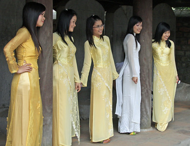 These ladies were wearing the traditional silk dress for Vietnam women.  I believe they were a part of a school group.