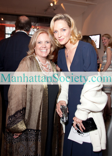 Milbry Polk, executive director and co-founder of Wings Worldquest, and Uma Thurman attend the WINGS WorldQuest: 2010 WINGS Women of Discovery Awards on Thursday, April 15, 2010 at Tribeca Rooftop, 2 Debrosses Street, New York City, NY   (PHOTO CREDIT:  Manhattan Society.com 2010 by Karen Zieff)