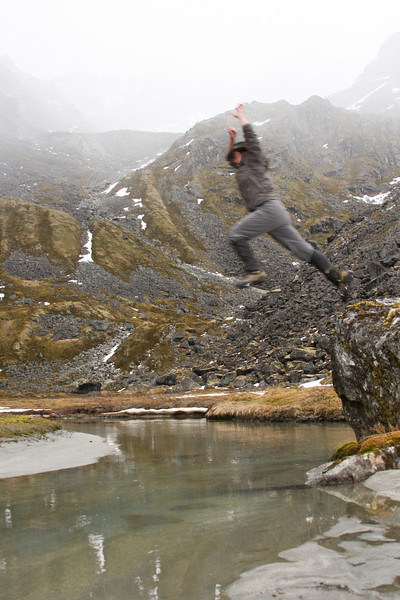 Richard Harrop takes to the air for a creek crossing, avoiding the misery of damp feet.