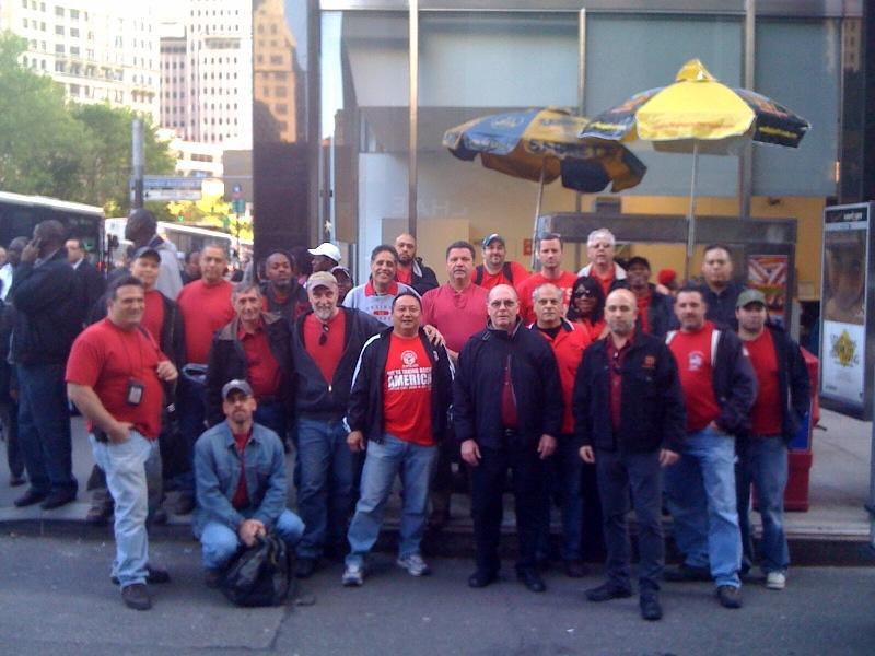 Local 1101 Members gather at the Wall Street Rally.