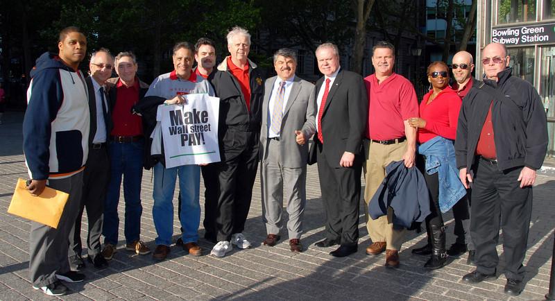 Local 1101 at the Wall Street Rally, 1101 Secretary Jim Trainor and President of the AFL/CIO Richard L. Trumka (center)