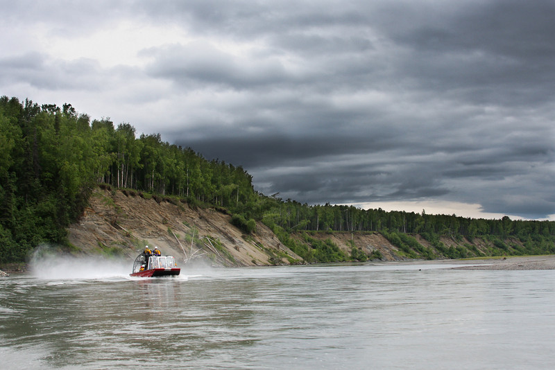 The Mat-Su Borough Water Rescue Team's airboat planes over the water of the Susitna River.