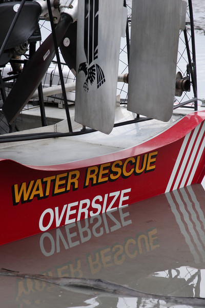 The team's rescue airboat is an amazingly versatile piece of equipment.