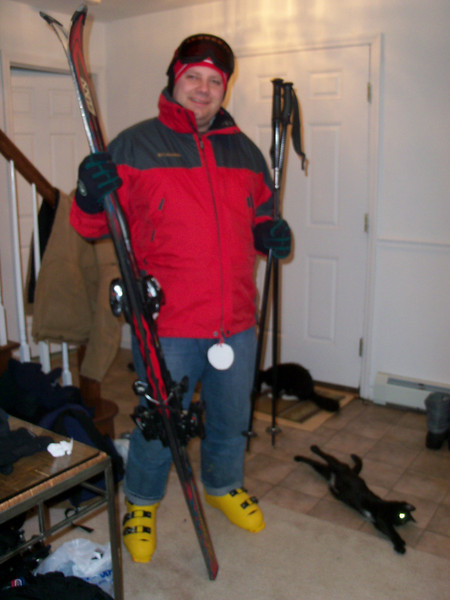 Going Skiing at Dartmouth.... the tightest damn ski boots I've ever put on my feet... thanks to Fred for the ski jacket and goggles!