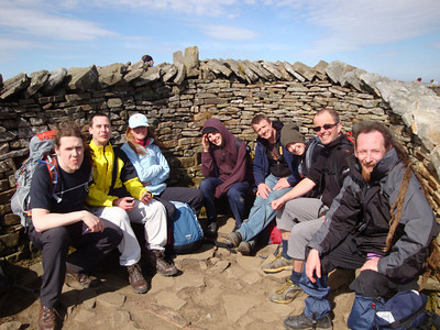 Peak 2: Whernside. Another summit shelter from the freezing winds.