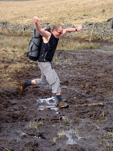 With vigorous flapping Dave attempts to fly out of the bog
