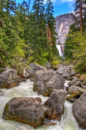 """HDR of Vernal Falls, from """"The Bridge"""" above Happy Isles."""
