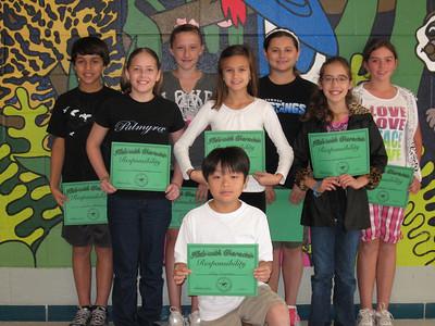 October/Responsibility 5th grade: Madison Gilbert, Juliette Strope, Mandy Larsen, Megan Gaspard, Andy Nguyen, Makenzy Newsom, Josh Peterson, Rachel Moore