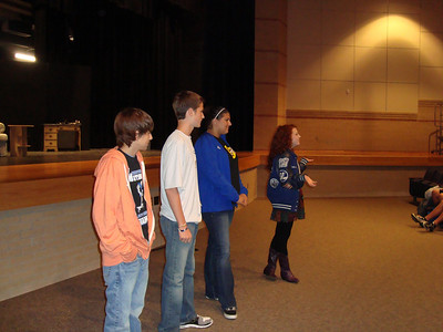 FHS CLEAR members spoke to the FJH new CLEAR students about why they had chosen to participate in the student-led organization to prevent and reduce alcohol and substance abuse among youth and to promote drug-free activities. Pictured left to right are: Kyle, a sophomore active in choir and theater; Kenton, a senior active in PALS, sports medicine and choir; Katelyn, a senior active in sports medicine; and Blythe, a senior active in theater, choir and a class officer.