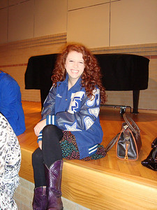 High school CLEAR member Blythe waits to speak to new junior high CLEAR members at the opening rally for CLEAR.
