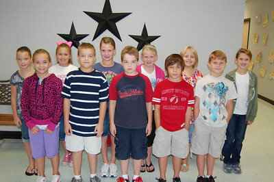 SEPTEMBER: Fourth Grade in Random Order: Jonathan Blecher, Christian Barnett, Emily Williams, Robert Chuoke, Reagan Greny, Ashlyn Mendenhall, LuLu Rathbun, Jacob Rathubn, Lauren Hubbard, Katelyn Scranton, Emma Jennings