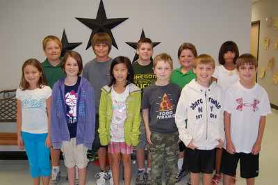 SEPTEMBER: Fifth Grade in Random Order: Alex Hatfield, Madison Ueding, Thad Horman, Ashley Jezek, Tyler Radigan, Sam Wittman, Jessica Pham, Hunter Scott, John Crainer, Matthew Blair, Laurel Encarnacion