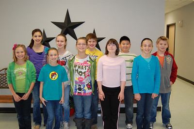 January Fairness Pillar - Fifth Grade:  Trevor Wilson, Natalie Abowd, Anjanette Carlisle, Tara Davenport, Mackenzie Jeter, Delaney Davis, Daniel Yang, Zachary Hickham, Audrey Sweeney, Blane Tanley, Audrey Cruse
